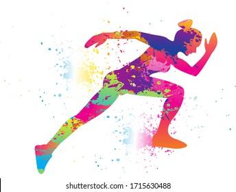 Running logo design. Colorful sport background. Vector illustration.
