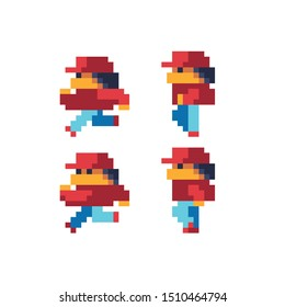 Running male character in cap pixel art style for arcade game, isolated vector. 8 Bit  cartoon game background, mobile game assets. Isolated vector illustration. 8-bit.
