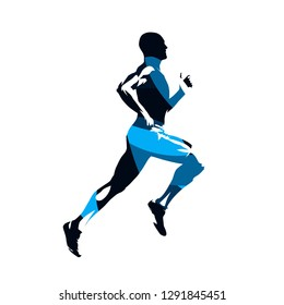 Running man, abstract blue isolated vector silhouette, side view. Run