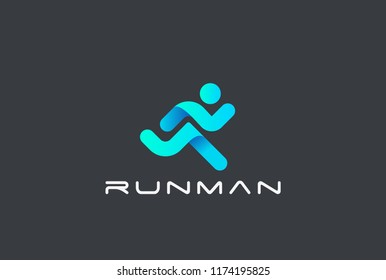 Running Man abstract Delivery Sport Fitness Logo design vector template ribbon geometric style.