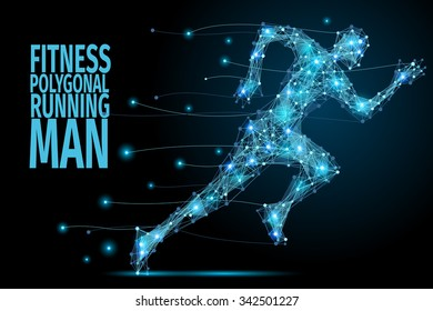 Running man from abstract polygonal blue. Low poly man in motion
