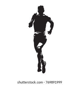 Running man, abstract vector silhouette. Front view marathon runner