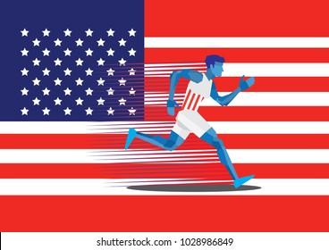 Running Man American Vector