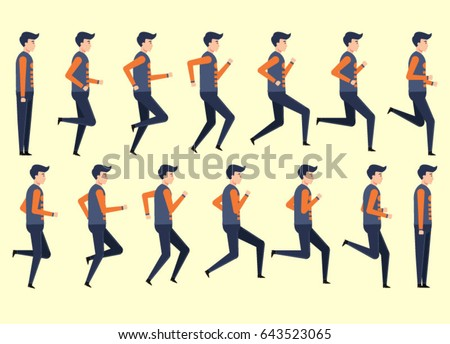 running man animation 14 frame sequence のベクター画像素材