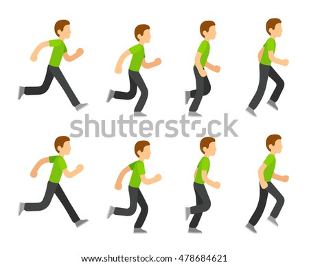 Running Man Animation 8 Frame Sequence Stock Vector (Royalty Free ...