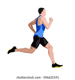 Running man in blue jersey profile, side view. Abstract vector illustration