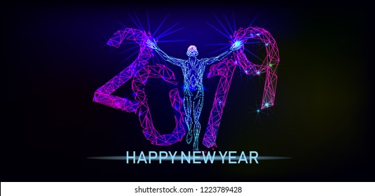 Running man breaks the inscription 2019. Minimal cover design. Low poly vector illustration template brochures, flyers, presentations, logo, print, leaflet, banners. Happy New Year