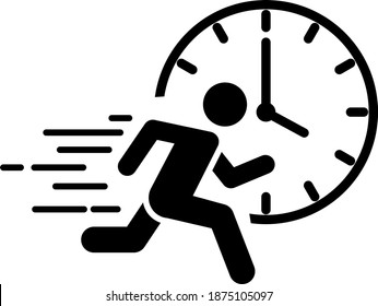 A running man with clock icon, immediate icon, vector