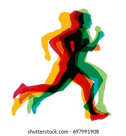 Running man, colorful vector silhouettes