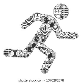 Running Man composition icon constructed for bigdata and computing purposes. Vector running man mosaics are united from computer, calculator, connections, wi-fi, network,