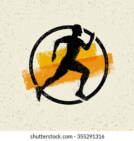 Running Man Creative Vector Sport Icon On Grunge Background With Brush Strokes.