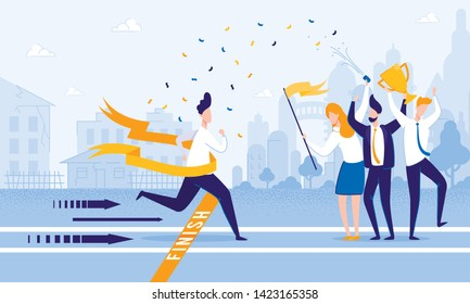 Running Man Crosses Finish Line. People Meet Firework Man at Finish. From Poverty to Wealth. Achive Goal. Vector Illustration. Way to Victory. Financial Stability. Business Plan Save Money.