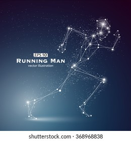 Running Man, dots and lines connected together, a sense of science and technology vector illustration.