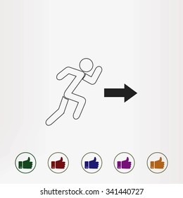 running man figure and direction arrow icon vector
