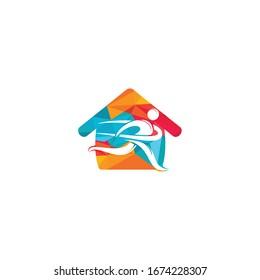 Running Man With Finish Ribbon Home Shape Logo Design. Marathon logo template. Running club or sports club sign.