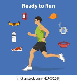 Running Man. Running Gear for Man. Running accessories and Gadgets For Outdoor Cardio Work Out. Belt bag, sport glasses, sport clothes, fitness bottle, armband, cap, sneakers, watch. Jogging Man.