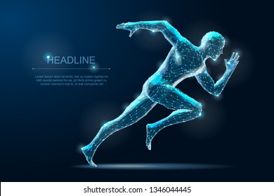 Running man. Geometry sprinter. Polygonal Wireframe 3D model blueprind with Dots. Vector Illustration