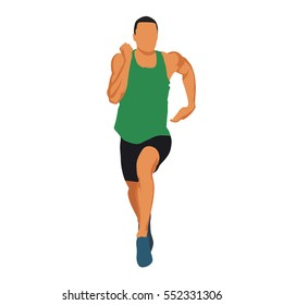 Running man in green jersey, muscular athlete front view. Abstract vector illustration