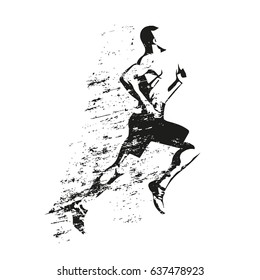 Running man, grungy vector silhouette. Side view, profile