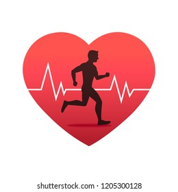 Running man in heart strong with line ecg heartbeat, Healthy cardio, Simple flat design icon symbol, Isolated on white background, Vector illustration