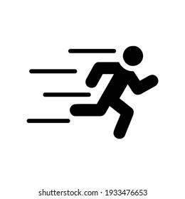 Running man icon black on white background