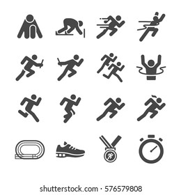 Running man icon set. Included the icons as run, sprint, start, watch, win, goal and more.