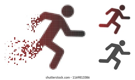 Running man icon in sparkle, dotted halftone and undamaged entire versions. Pixels are composed into vector sparkle running man pictogram.