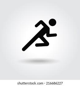 Running man icon white black silhouette