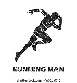 Running Man illustration, image. Creative, luxury gradient color style image. Print label, banner, icon, book, cover, card, website, web, greeting, invitation. Street art.
