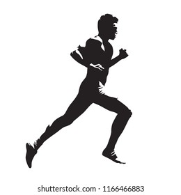 Running man, isolated vector silhouette. Marathon runner, side view