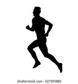 Running man isolated vector silhouette, profile. Side view