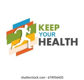 Running man, jogging and marathon logo template design
