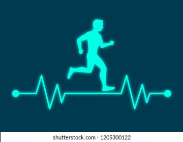 Running man with line ecg heartbeat, Healthy cardio heart stronger, Simple flat design icon symbol, Isolated on white background, Vector illustration