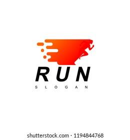 Running Man Logo Design Vector
