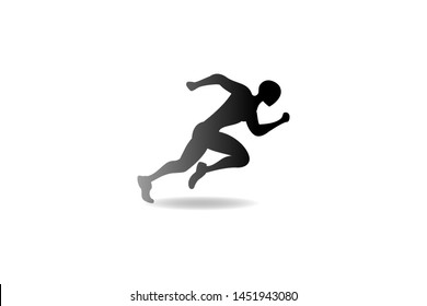 Running man logo design vector symbol, sport and competition concept background.