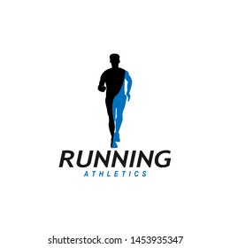 Running man logo design vector symbol, sport and competition concept background