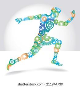 Running man made color gears vector illustration