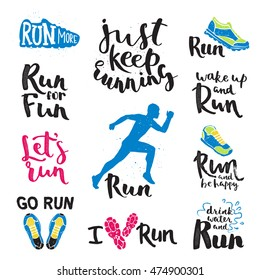 Running man marathon logo jogging emblems label and fitness training athlete symbol sprint motivation badge success work isolated runner handmade badge vector illustration.