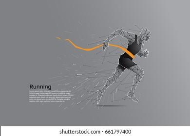 Running man. Motion art line dot concept. Vector illustration