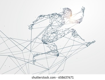 Running Man, Network connection, vector illustration.