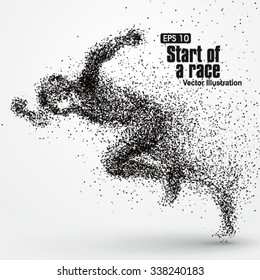 Running Man, particle divergent composition, vector illustration.