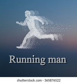 Running Man, particle divergent composition, pixel art design, 2016 Summer Games, Olympic games sprint race competition, vector illustration.
