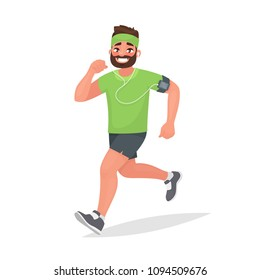 Running man. A person is engaged in fitness. Morning jogging. Active and healthy lifestyle. Vector illustration in cartoon style