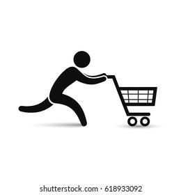 Running man pushing shopping cart icon. Vector shopping sale discount symbol.