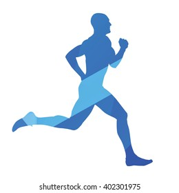 Running man, run, runner, jog, abstract blue vector silhouette
