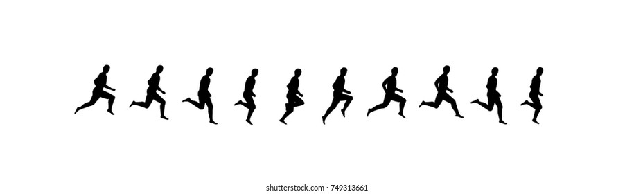 Running man sequence, frames vector illustrations. Jumping sport animation symbols