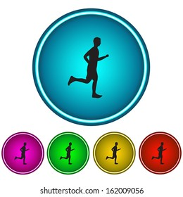 Running man. Set of color vector buttons. Black silhouette. Circular shape. Blue, Purple, Yellow, Green, Red colors.