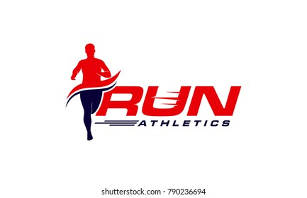 Running Man silhouette Logo Designs, Marathon logo template, running club or sports club