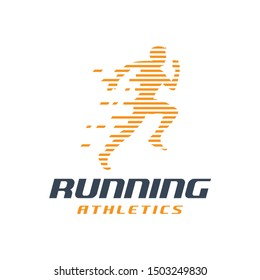 Running Man silhouette Logo with Finish ribbon, Marathon logo template, running club or sports club