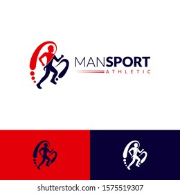 Running man silhouette logo with letter m, sports logo template, marathon vector illustration, initial letter m for your companies name